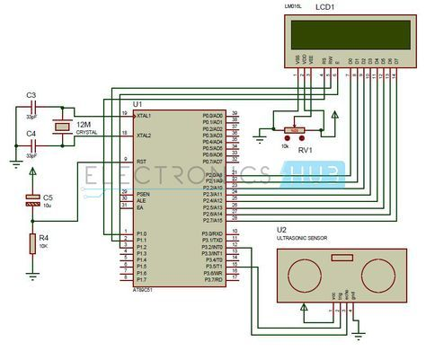 how to make ultrasonic rangefinder project using 8051circuit diagram of ultrasonic range finder using 8051 microcontroller