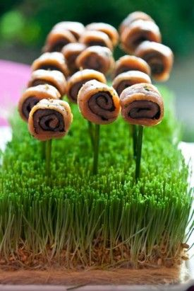 "Norwegian Salmon Lollipops from Windows Catering via United With Love  I like this idea of ""lolly pops"" in trays of wheat grass, like picking flowers!"