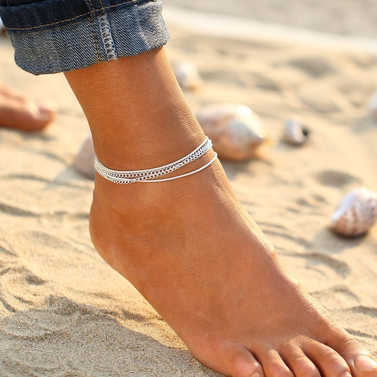 imixlot Gold Plated Silver Anklet for Women Girl Adjustable Beach Style Foot Ankle Bracelet Jewelry
