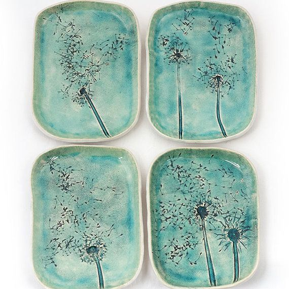 Set of ceramic dishes, in soft blue turquoise color, crackled glaze. One big platter and four plates. Made by slab building production method.   One of a kind.   platter: about 21x26cm plates: about 14x19cm  Can be washed in a dishwasher.    I will put it in a decorative waste paper gift wrap.  Thank you.