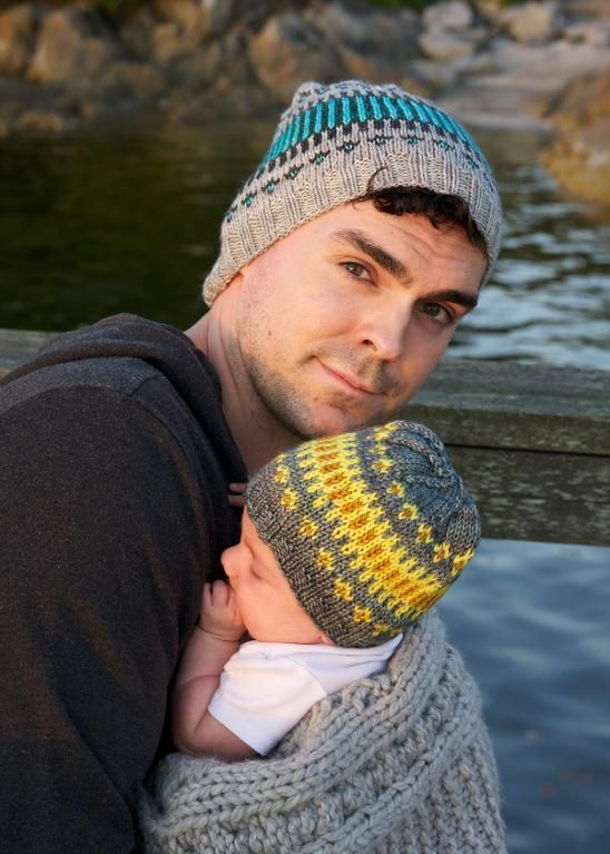 Awww Free knitting pattern Father and Son (or Daughter) Hats  and more baby knitting patterns