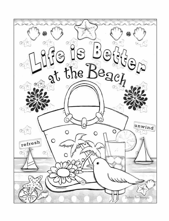 Beach Themed Page From Artist Barbara Ann Kenneys Coloring Therapy Book For Sale On Amazon