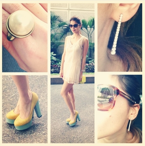 Anne Curtis Smith - Topshop dress, SMAccessories pearls ring, Primadonna PH heels, My Diamond Ph drop earrings, Chanel sunglasses and bag