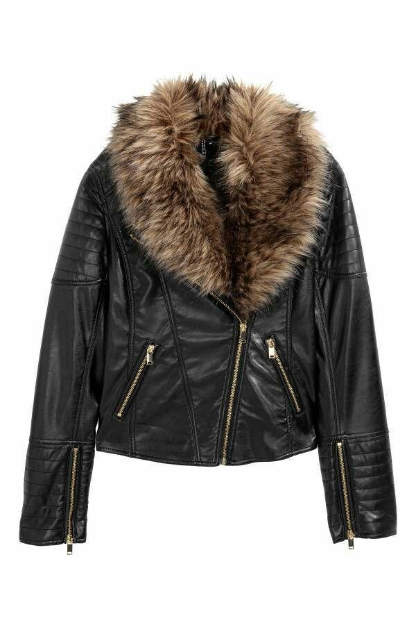 3589c793cc8 H M Women s Biker Jacket with Faux Fur Trim