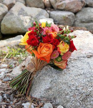 Wedding, Flowers, Bouquet, Green, Red, Orange, Brown, Yellow