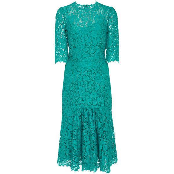 Dolce & Gabbana Lace Dress ($2,397) ❤ liked on Polyvore featuring dresses, dolce gabbana dress, ruffled dresses, a line dresses, a line cocktail dress and lace a line dress