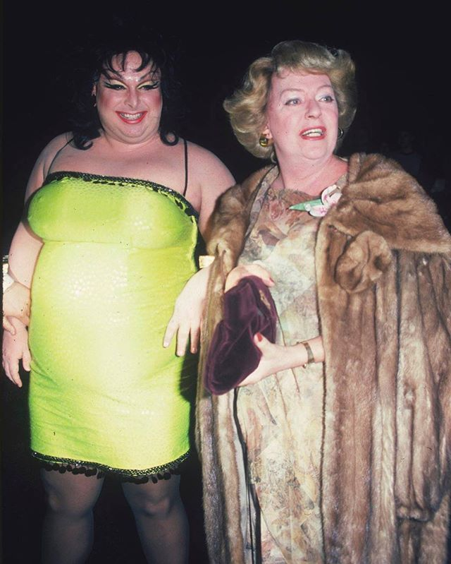 Divine and Christine Jorgensen, the first transgender celebrity in the U.S., at the first annual party of the Limelight disco in Atlanta, photographed by Tom Gates (1981)