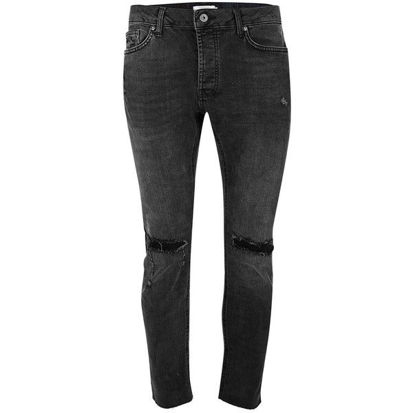 TOPMAN Washed Black Stretch Skinny Jeans (1,840 DOP) ❤ liked on Polyvore featuring men's fashion, men's clothing, men's jeans, black, mens super skinny jeans, mens stretch jeans, mens super skinny stretch jeans, mens stretch skinny jeans and mens stretchy jeans
