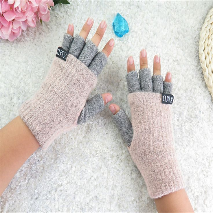 2016 autumn and winter fashion ladies solid half gloves warm mittens Students Office  A29