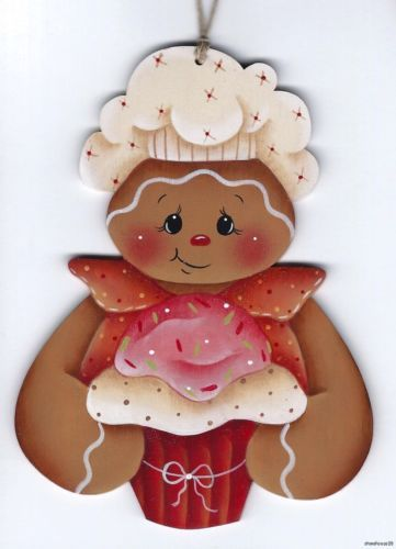 GINGERBREAD with Cupcake - Based on a Renee Mullins design... handpainted by Pamela House