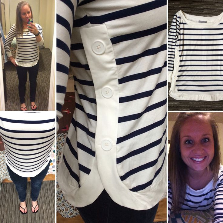 Stripes and button detail? Sold! LOVEAPPELLA Sangster Button Side Knit Top