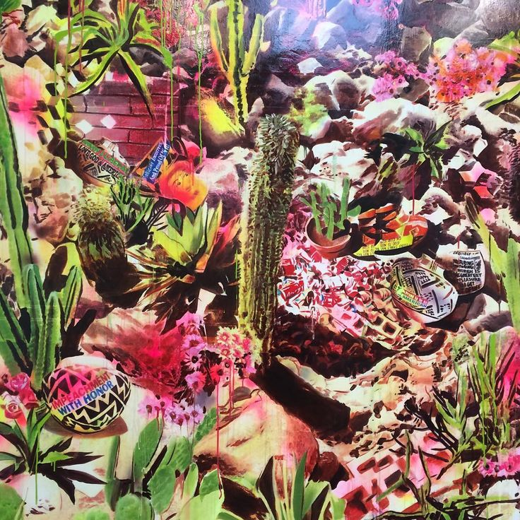 Alway always love the work of @rossoncrow her show #thehappiestpeopleonearth @honorfrasergallery is ⚡️⚡️so many psychedelic cactuses and strange conspiracies. Here is a detail of 'enduring displays of American exceptionalism'. #psychadelic #cactus #honorfrasergallery #desert #conspiracy #wildwest