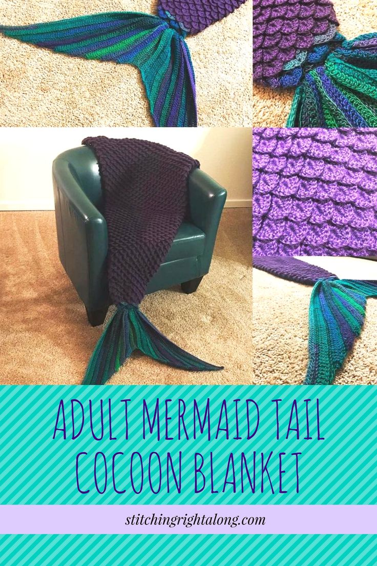 Free Adult Mermaid Tail Cocoon Blanket. Check out this pattern review and get all the links to everything you will need to know to make this amazing blanket!