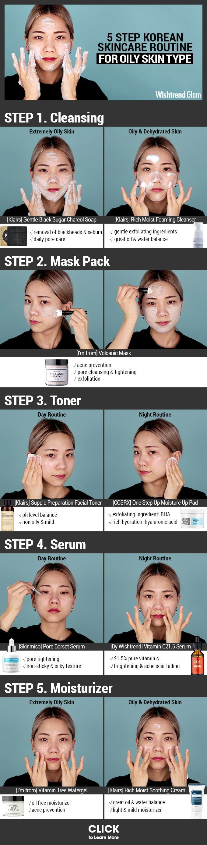 DIY MASK For Acne : 5 STEP KOREAN SKINCARE ROUTINE FOR OILY SKIN TYPE