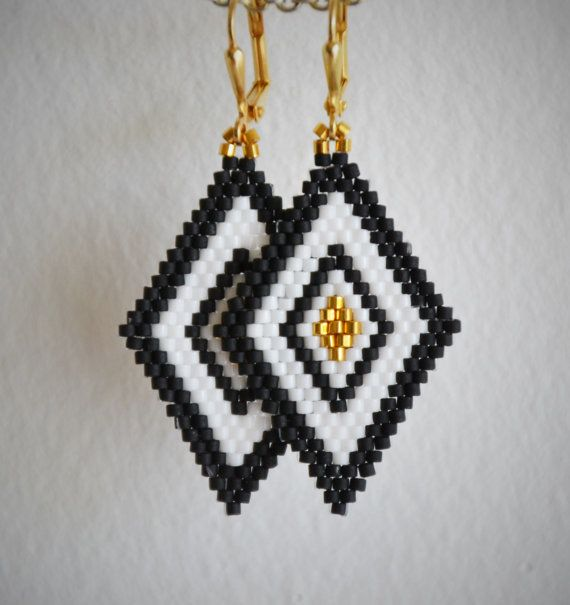 Stylish boho earrings, Geometric earrings. Delica beads, gold plated silver closures.    Follow me on INSTAGRAM! Username: lady_jam_design.