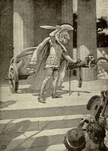 Alexander the Great at Gordium undoing the Gordian Knot