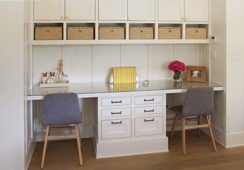Modern Farmhouse: Kids' workspace-mom's office in kitchen/homework area