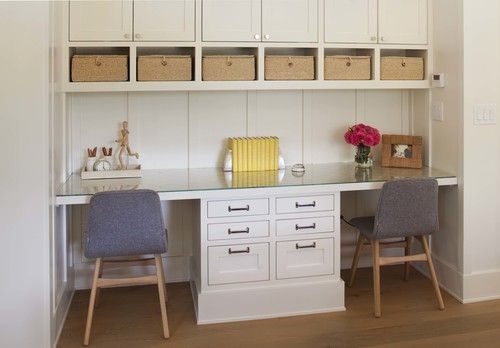 Modern Farmhouse: Kids' workspace-mom's office in kitchen/homework area