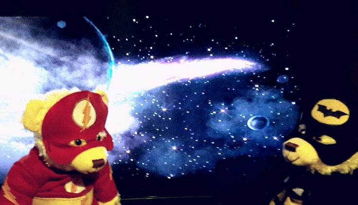 Flash and Bath bear discussing the universe