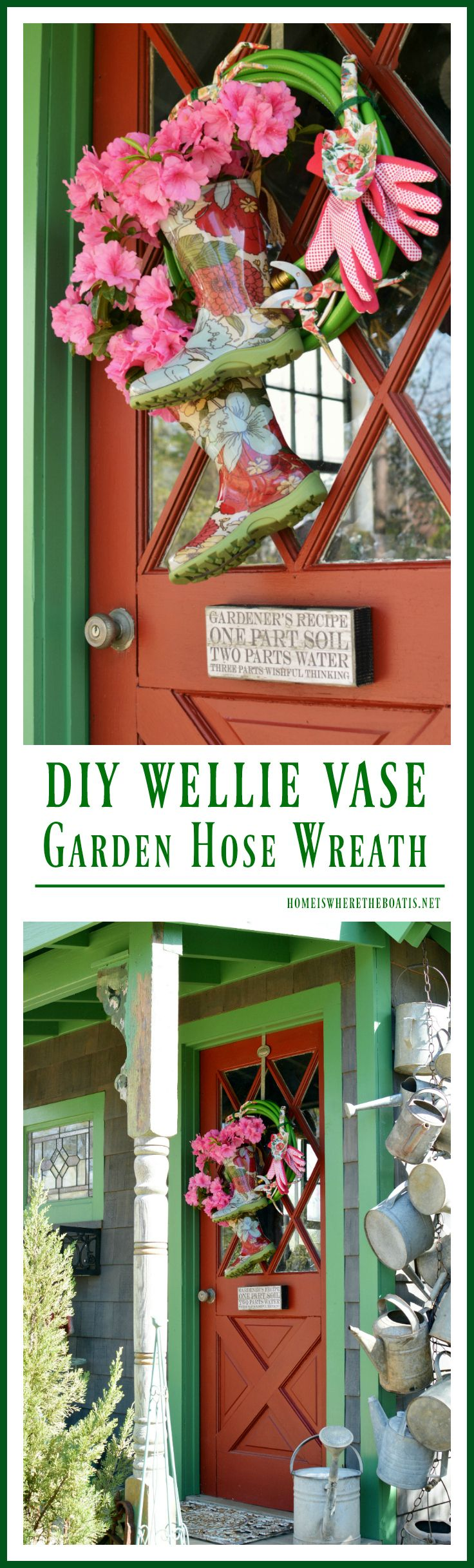 DIY: Growing a Garden Hose Wreath with Blooming Wellies | homeiswheretheboatis.net #pottingshed #spring