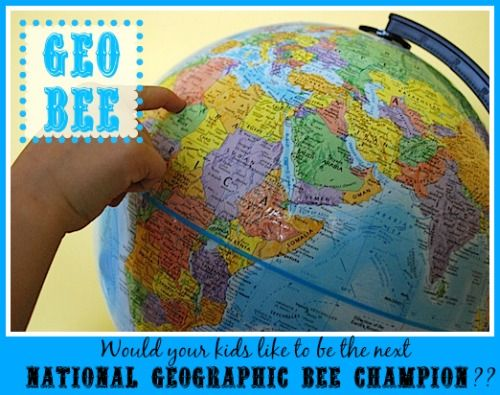 """FacebookTwitterGoogle+Pinterest Have you ever heard of the National Geographic Bee (sometimes called a """"GeoBee"""")?? It's an annual geography competition for kids! In the US (and around the world), thousands of schools participate in this geography contest, moving their best students on to the state and then national level. Top finishers are invited to compete in...Read More »"""