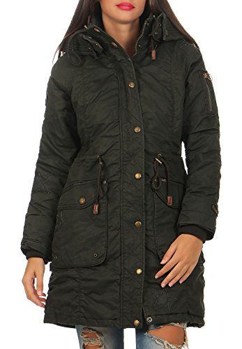 Khujo Mell Women Jacket Parka (XXL Olive). gewachste Optik. RV  Druckknopfleiste. c4a75272e3