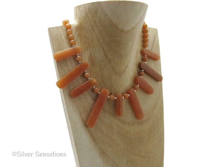 Spikey Orange Red Aventurine & Sterling Silver Chunky Necklace from Silver Sensations. This unique handmade orange beaded fashion necklace also has sterling silver beads - £19.00 + P & P