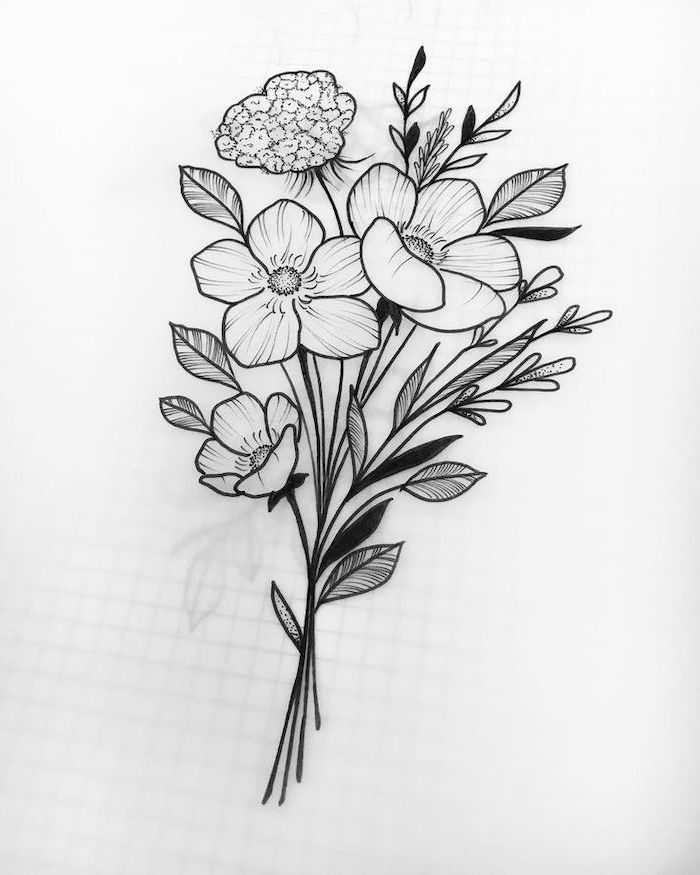 Bouquet Of Flowers Simple Flower Drawing Black And White Pencil Sketch Flower Bouquet Drawing Flower Drawing Easy Flower Drawings