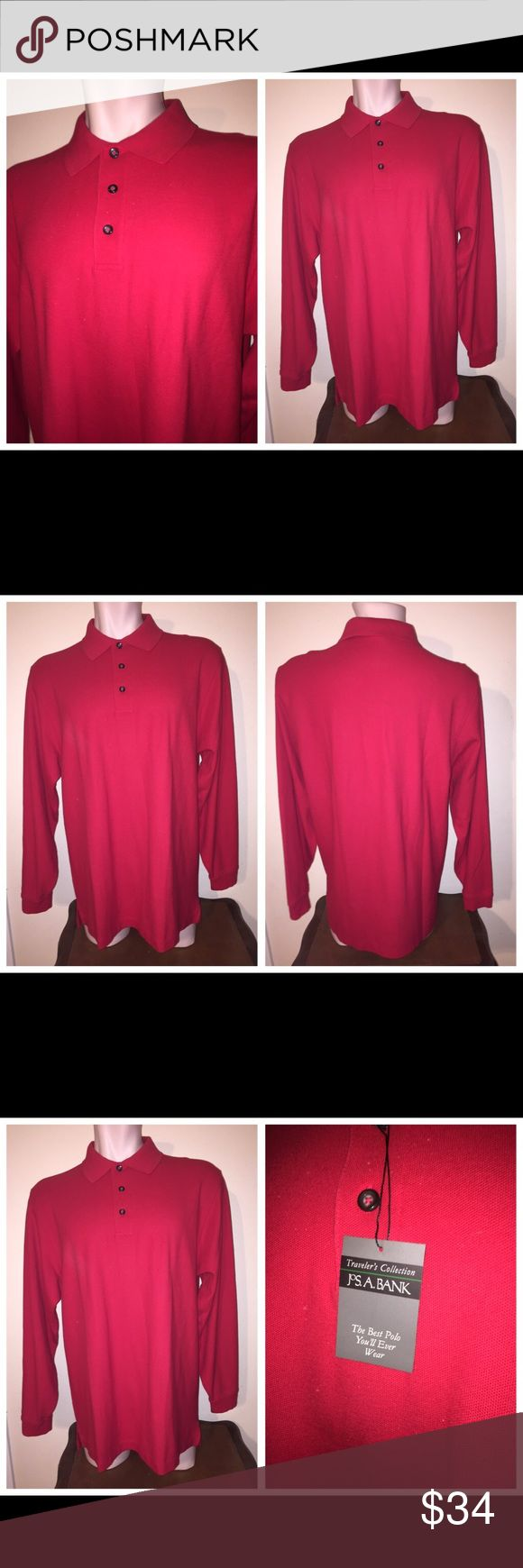 NWT Jos. A. Bank l/s cotton polo shirt Red Sz L 051817-15 Jos. A. Bank long-sleeve cotton polo shirt, cherry red, Sz L Jos. A. Bank long-sleeve 100% cotton polo shirt, cherry red, Sz L (Note: NEW!) Chest - 48 Waist - 48 Length - 32 Shoulder Width – 20 Sleeve Length – 26 ½ Jos. A. Banks Shirts Polos
