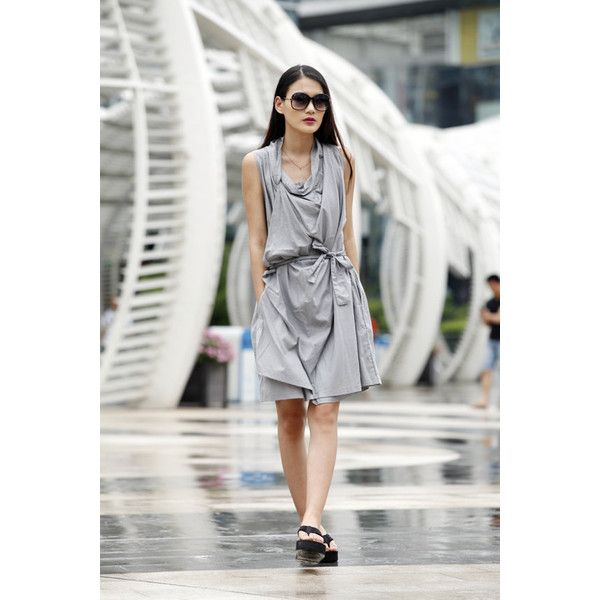 On Size L Casual Summer Dress Loose Fitting Cotton Sundress for Women... (£31) ❤ liked on Polyvore featuring dresses, silver, women's clothing, high-low dresses, gray dresses, summer dresses, summer sundresses and long sun dresses