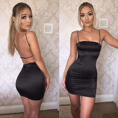 Details about Women Fashion Spaghetti Strap Backless Solid Clubwear Casual Mini Bodycon Dress
