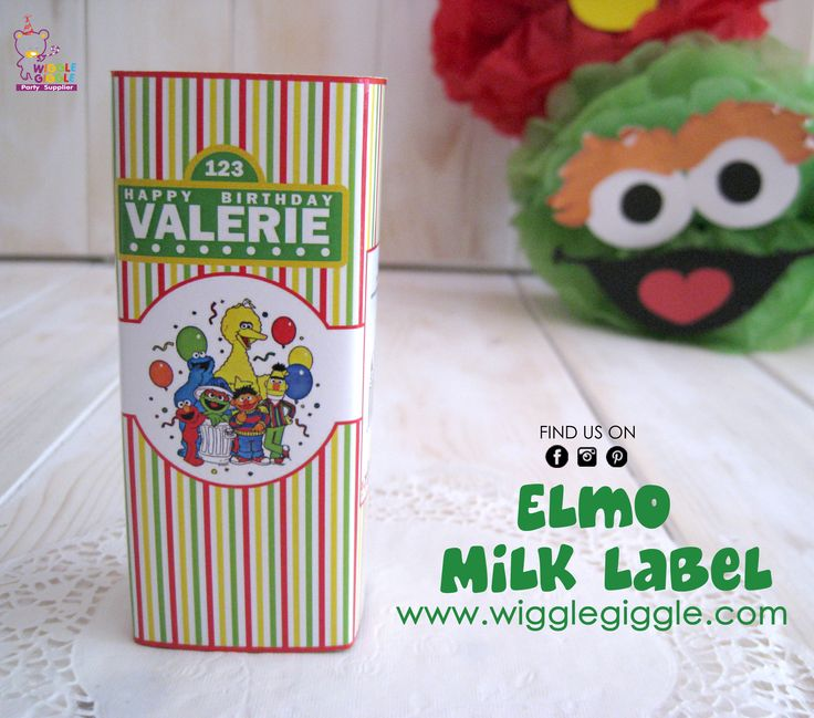 Elmo Milk Labels. Visit us at www.wigglegiggle.com