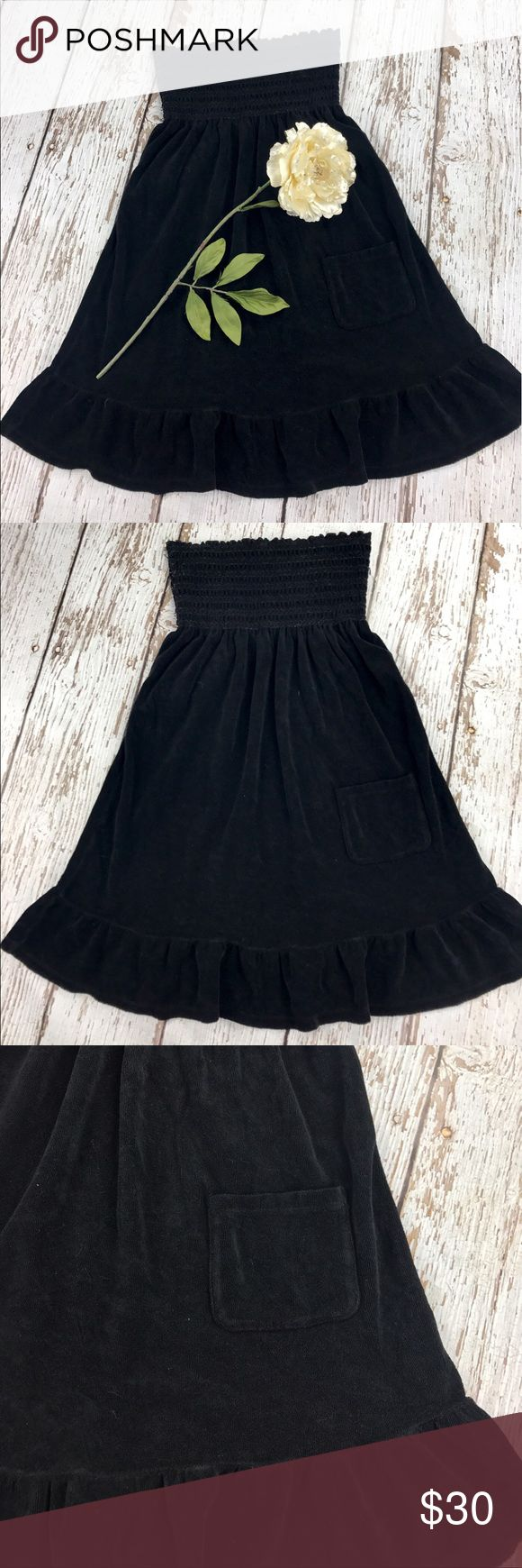 """💕SALE💕Juicy Couture Black Terry Dress Fantastic 💕Juicy Couture Black Terry Dress with pocket 80% Cotton 20% Polyester 28"""" from the top of the shoulder to the bottom Perfect Beach Coverup or Relaxing Weekend Dress Juicy Couture Dresses"""