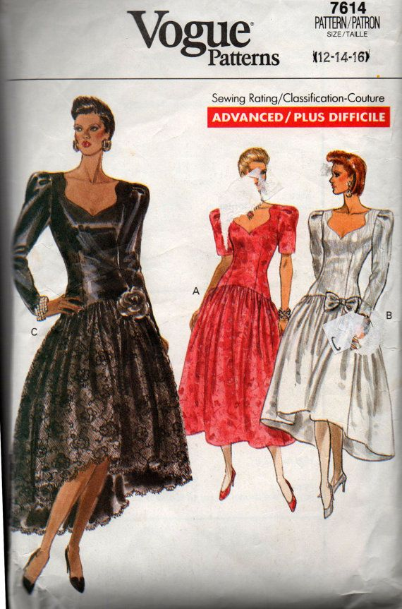 9abba232cfb Vogue 7614 Womens High Low Hem Prom Dress 80s Vintage Sewing Pattern ...