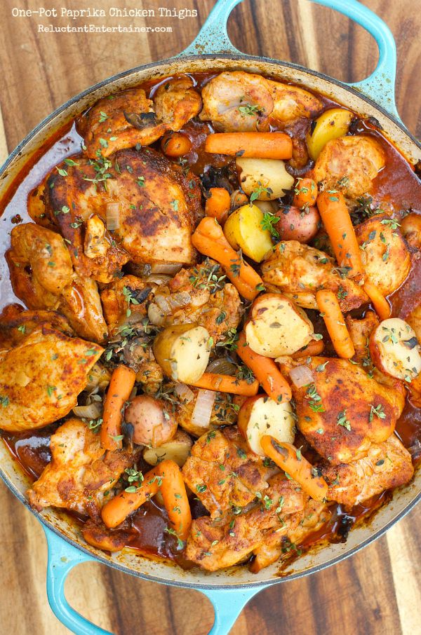 EASY One-Pot Paprika Chicken Thighs | ReluctantEntertainer.com