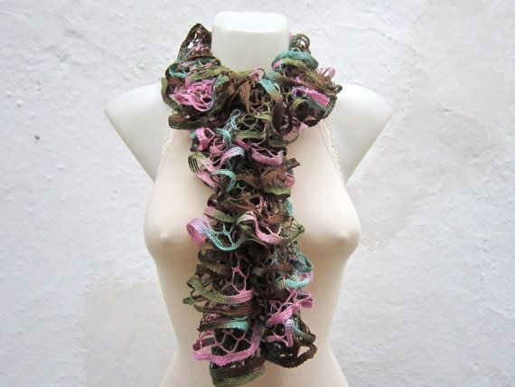 Pink Green Brown  Knit Scarf Winter Accessories Fall by scarfnurlu