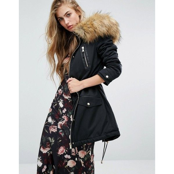 Miss Selfridge Leather Look Detail Parka with Faux Fur ($186) ❤ liked on Polyvore featuring outerwear, coats, black, tall coats, faux fur coats, hooded parka coat, miss selfridge coats and vegan coats