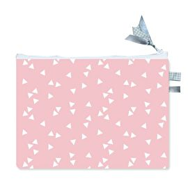 Laptophoes / Laptop sleeve / Tablet hoes licht roze met driehoekjes.