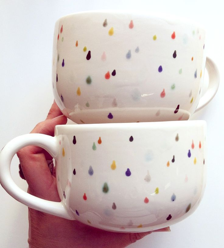 Raindrop Ceramic Latte Mugs