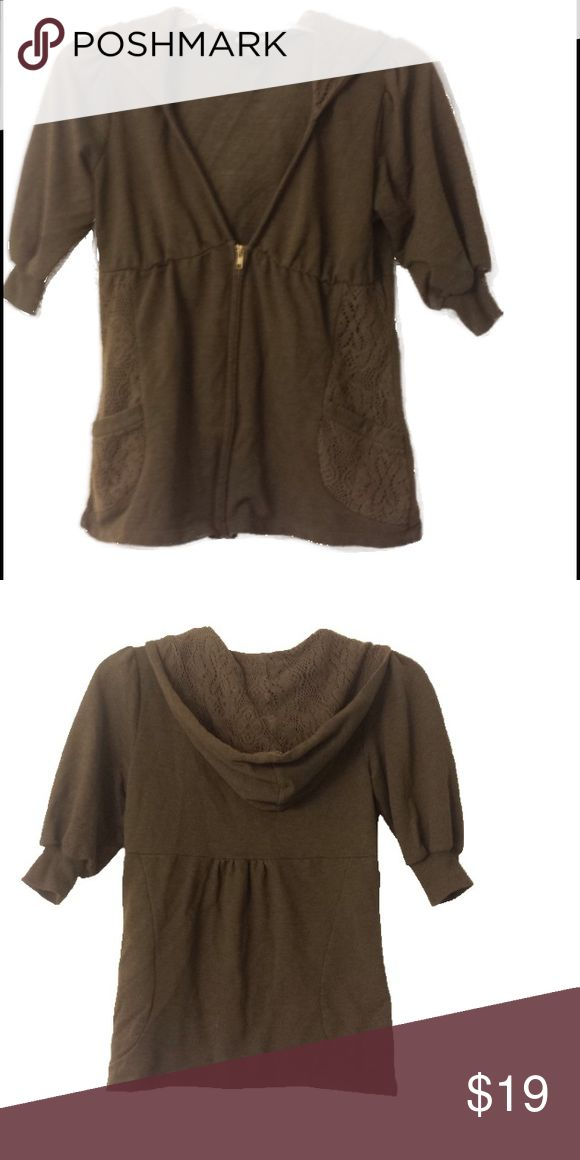 "CUTE & COMFY MID SLEEVE WITH CROCHET ZIP UP HOODIE BROWN CUTE & COMFY ""MISS CHEVIOUS"" MID SLEEVE ZIP UP HOODIE WITH CROCHETED EMBELLISHMENTS. SIZE LARGE PRE-LOVED BUT STILL IN GREAT CONDITION.. Miss Chievous Tops Sweatshirts & Hoodies"