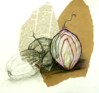 Breadth Idea Mixed Media Still Life - subject matter in color- done in oil pastel or colored pencil- all other objects done in ebony pencil. Emphasis/composition/color/value (shading):