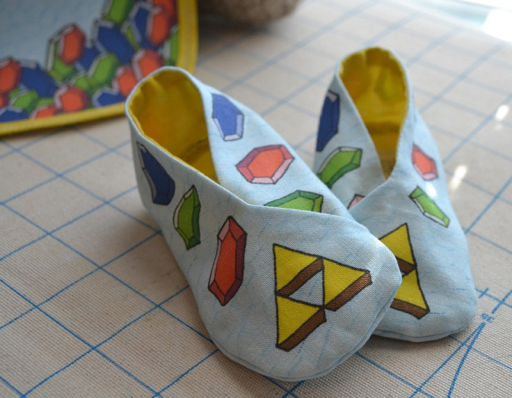 Booties: Legend of Zelda Rupee - Baby Geek. $10.00, via Etsy.....uh can I get these in a women's 9 1/2 please?