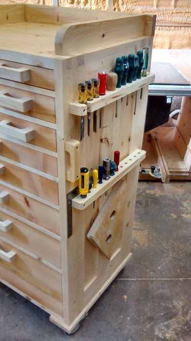 Tool chest - or finshed off nicely could be used in a kitchen, craft room....might need a few modifications...could put kitchen knives where the screw drivers are...drawers could be used for all sorts of things, really like this...