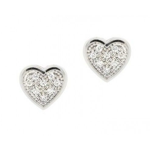 Silver Essentials Pave Cubic Zirconia Stud Earring at aquaruby.com