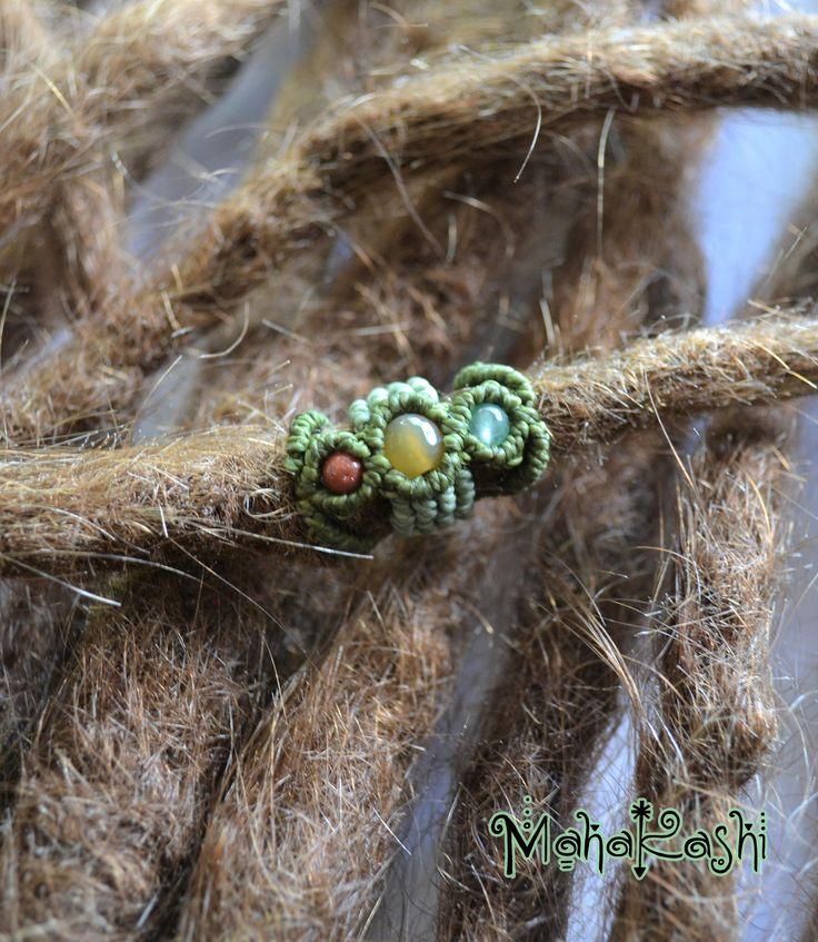 Macramè dreadlock bead cuff with Goldstone, Agate and Aventurine beads hippie boho gypsy style dreadlocks rasta dreads by MahakashiCreations on Etsy