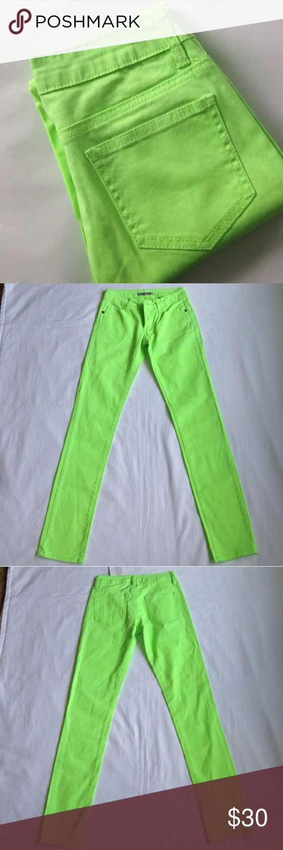 """Neon Green Skinny Jeans Emperial neon green jeans. Add your favorite sweater or scarf to wear for fall.                          Size 1.       98% cotton. 4% spandex. Some stretch.                                                                       12"""" waist, 30"""" inseam, 7"""" rise. emperial Jeans Skinny"""