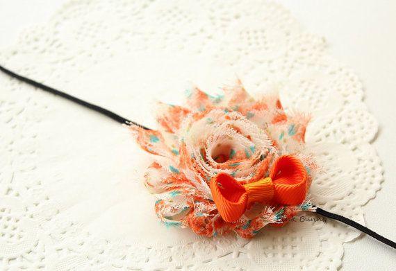 Orange/Aqua with Orange Bow Baby / Girls Headband by PinkkBunnyy, $7.00