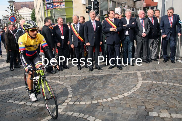 20140427 - LIEGE, BELGIUM: Former Belgian cyclist Eddy Merckx , Liege Mayor Willy Demeyer, Liege Province Governor Michel Foret, King Philippe - Filip of Belgium and Christian Prudhomme, cycling director of ASO (Amaury Sport Organisation) pictured at the start of the 100th edition of the Liege-Bastogne-Liege one day cycling race, Sunday 27 April 2014, in Liege. Photo Philippe BOURGUET/bePress Photo Agency