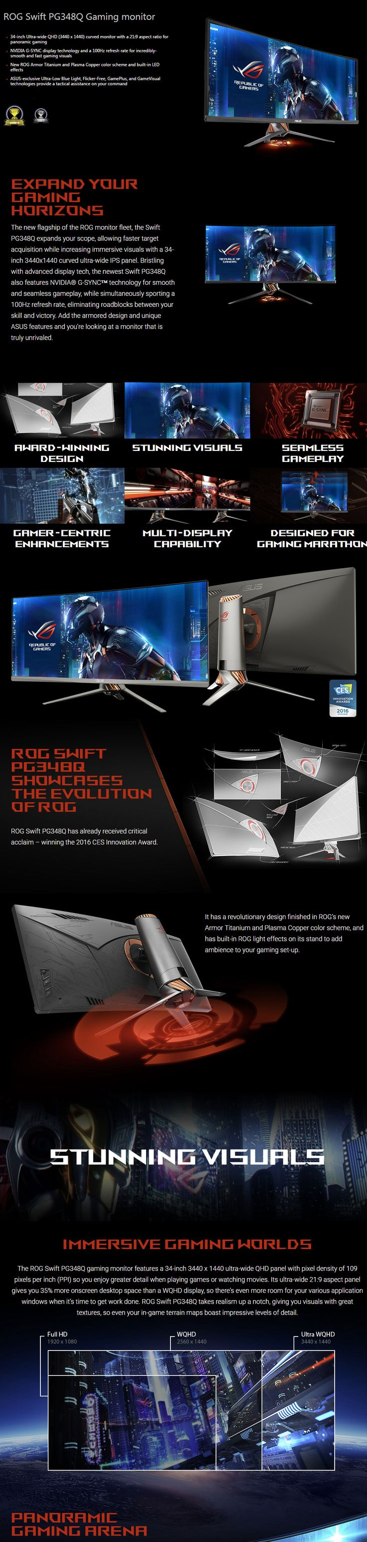 """ASUS ROG PG348Q 34"""" Curved G-Sync 100Hz 1440P IPS Gaming Monitor - Computer Lounge"""