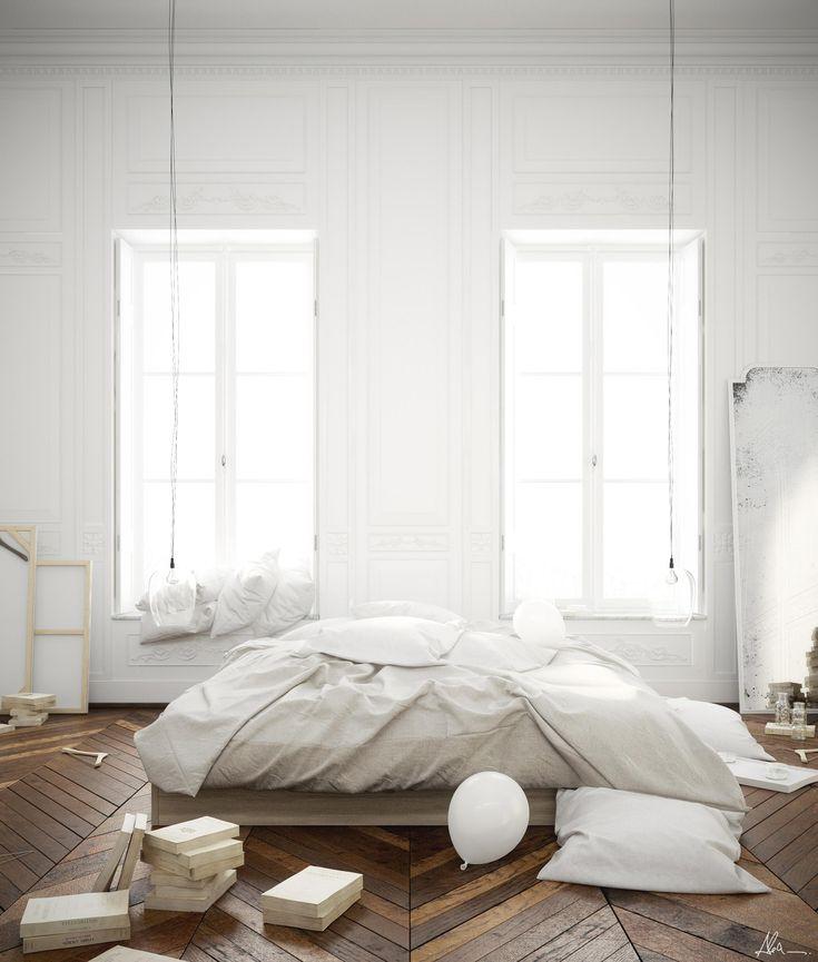white bedroom with a stunning herringbone wood floor